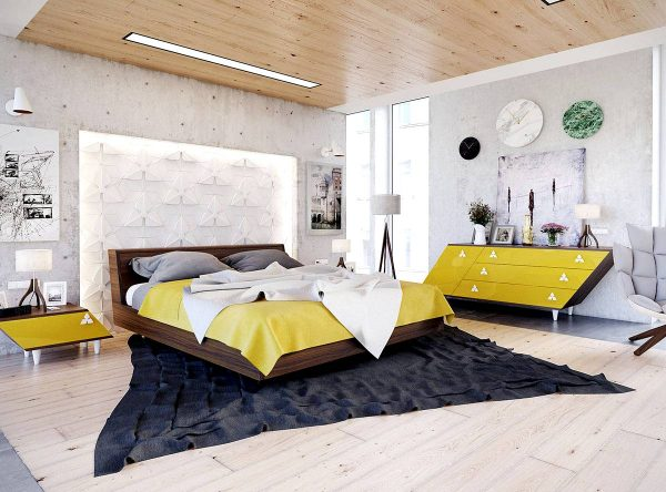 modern geometric bedroom theme