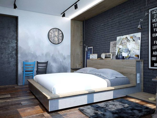 modern rustic wood floor bedroom