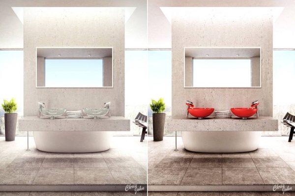 Modern bathroom with stone