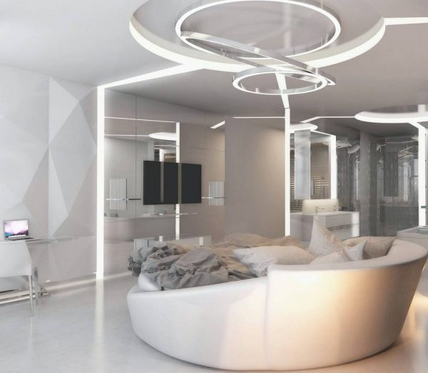 modernist all white bedroom