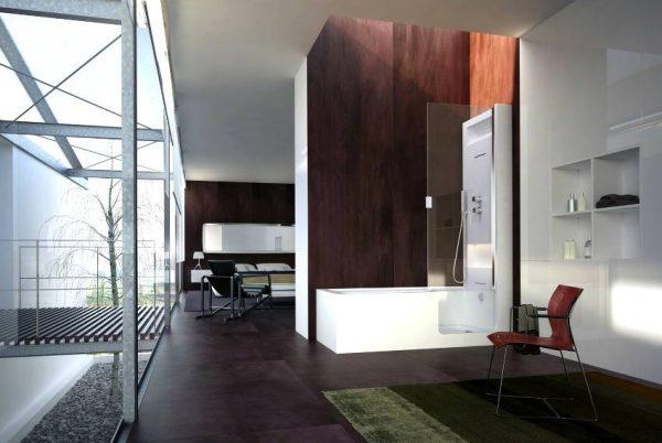 Open plan bathroom design