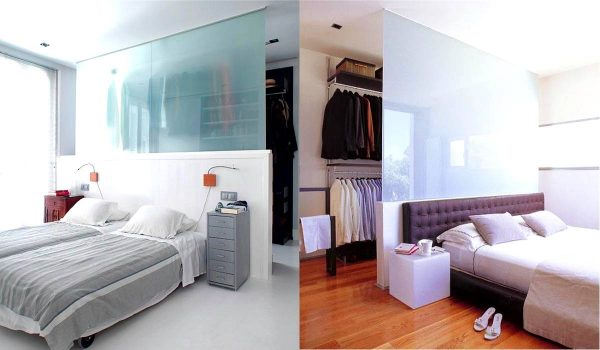 open wardrobe behind bed layout