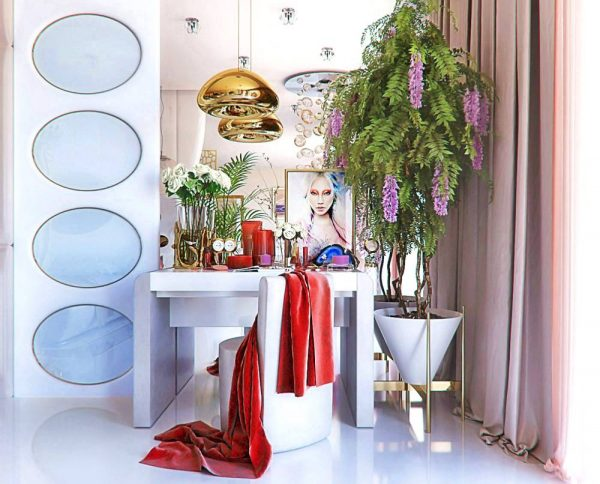 red and white vanity design