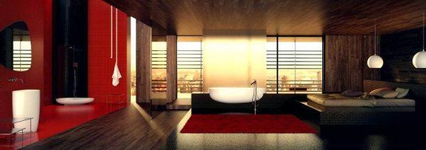 Red black white bathroom