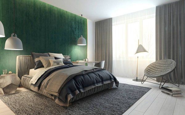 relaxed green bedroom color theme