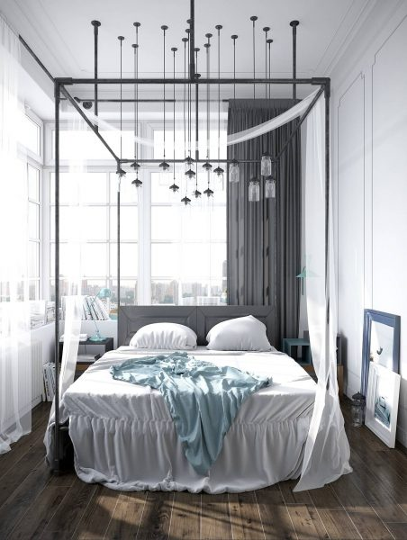 scandinavian canopy bed