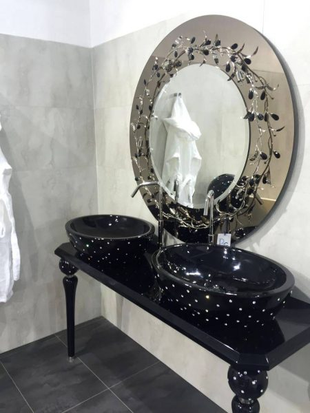 Crystals tufted on sinks and mirror with flowers