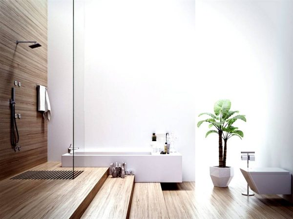 Modern bathroom with wood elements