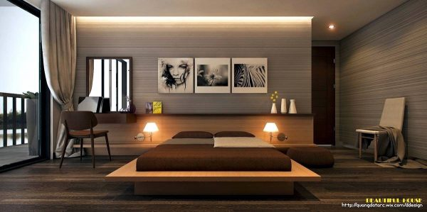 stylish bedside lighting in minimalist room