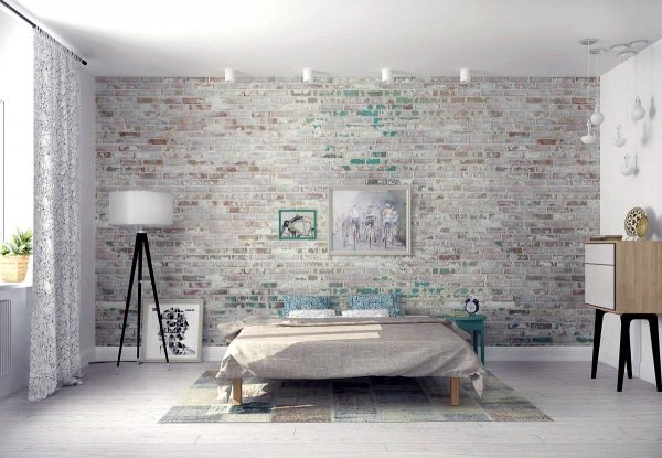 weathered brick bedroom
