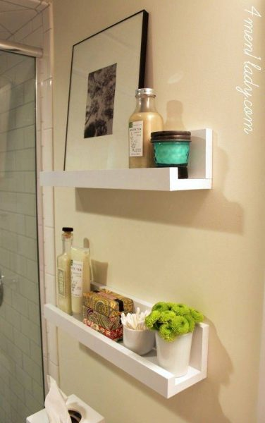 Bathroom white Photo ledge shelves