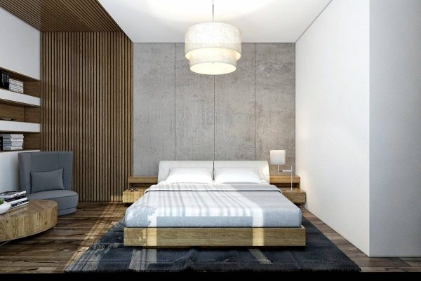 wood and concrete bedroom