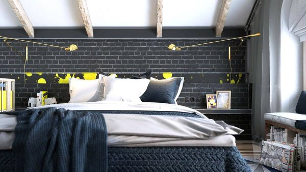 yellow and black artistic bedroom