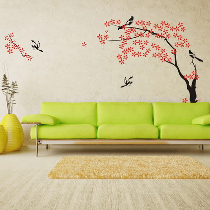 Cute-and-Cozy-Japanese-Tree-and-Birds-Pictures-for-Modern-Living-Room-Wall-Paint-Stickers-Decals-Decorating-Designs-Ideas