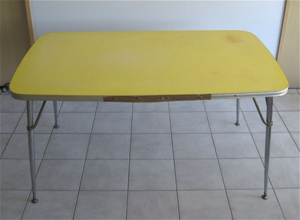 Yellow Formica Table on Vintage Design