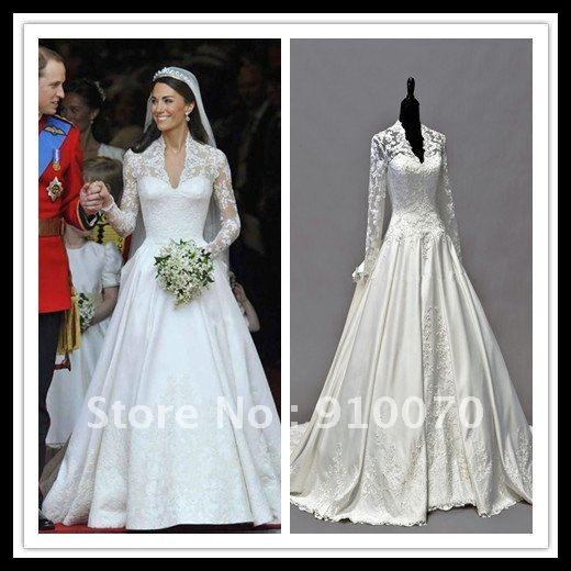 Kate-Middleton-princess-wear-The-royal-trailing-lace-wedding-dresses-with-veil-and-crown