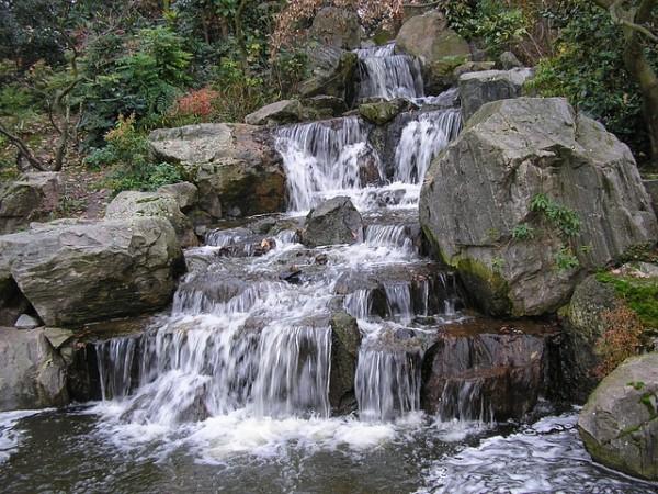 create waterfall garden with rock photos ideas