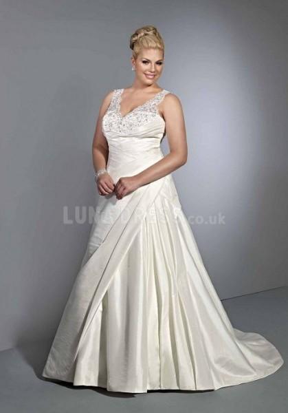 pretty-natural-waist-taffeta-v-neck-a-line-chapel-train-big-wedding-dresses_II