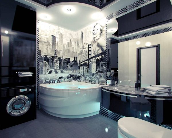 American themed mural bathroom