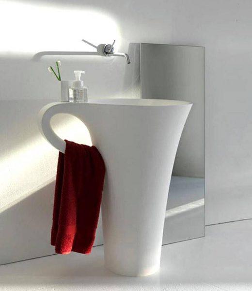 Basin integrated towel rail