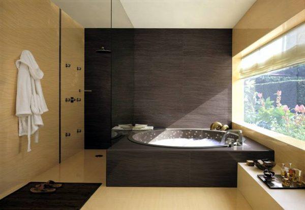 Black cream bathroom scheme tiles