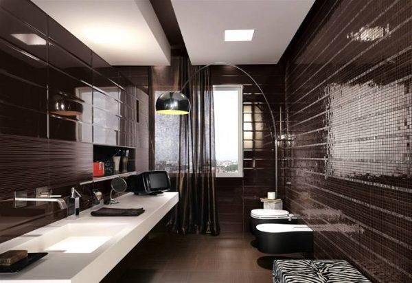Black mosaic tiles maculine bathroom ideas