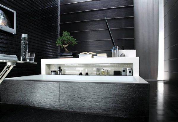 Black white contemporary bathroom tile