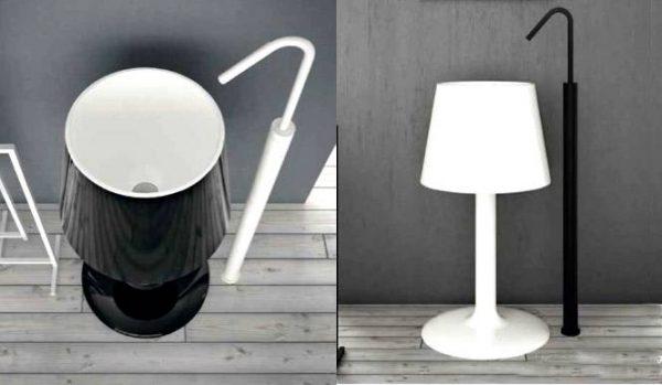 Black white lamp basin
