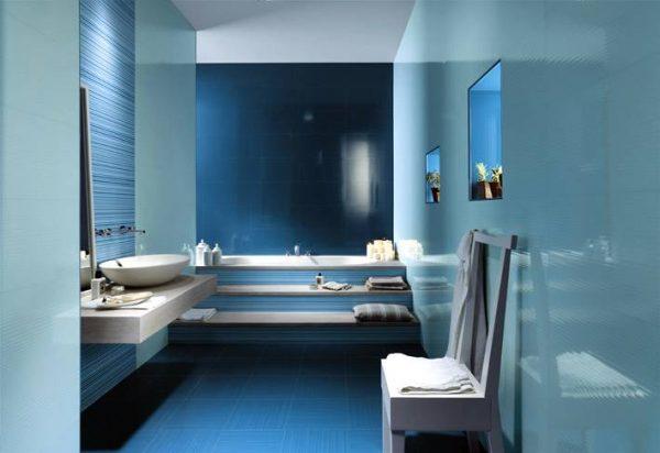 Blue white ceramic bathroom tiles