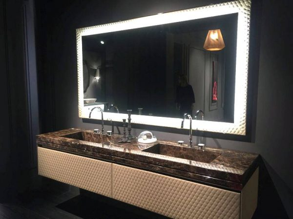 Brown marble on bathroom vanity with front leather pattern