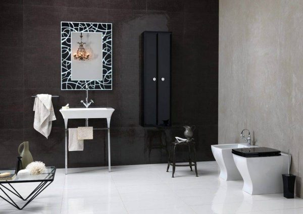 BrunaRapisarda Art deco elements monochrome bathroom