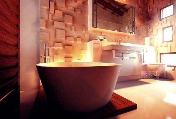 Contemporary bathroom textured wall treatment