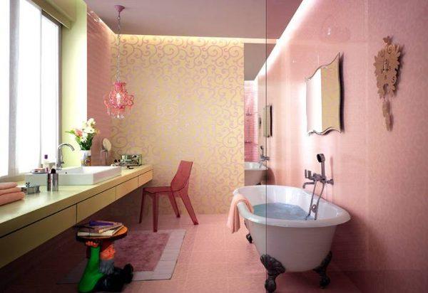 Cream white tiled bathroom