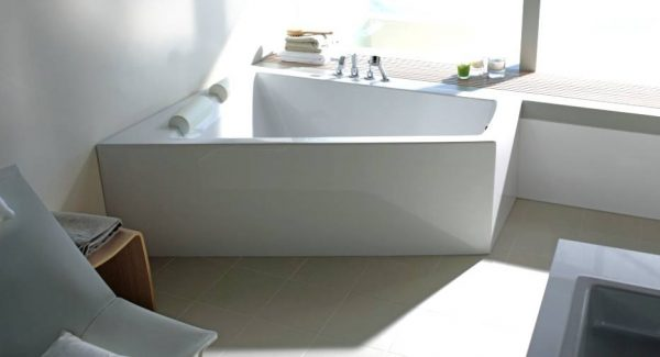 Duravit white bathroom with angular tub and view