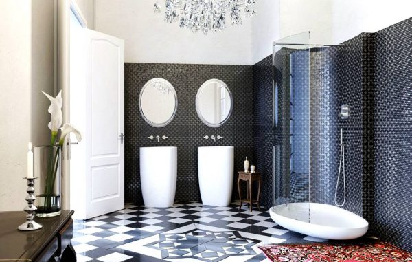 Glass Idromassagio Art Deco inspired italian bathroom