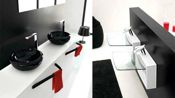 Glass basin black sink