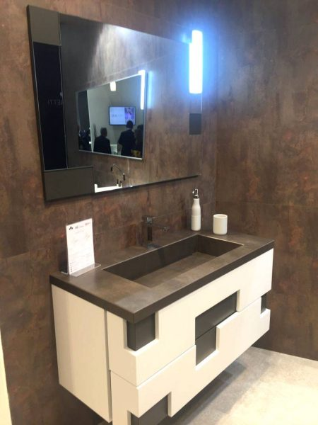 Gray and white with a modern front vanity