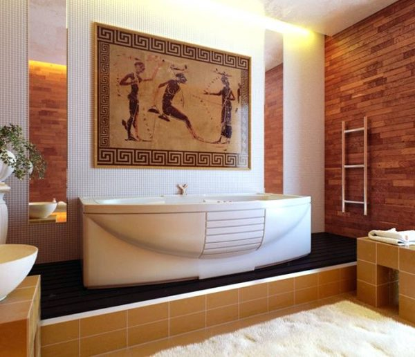 Greek style white bathroom