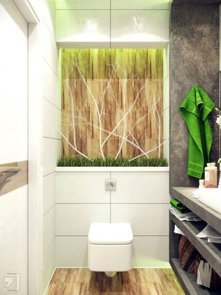 Green white nature inspired bathroom