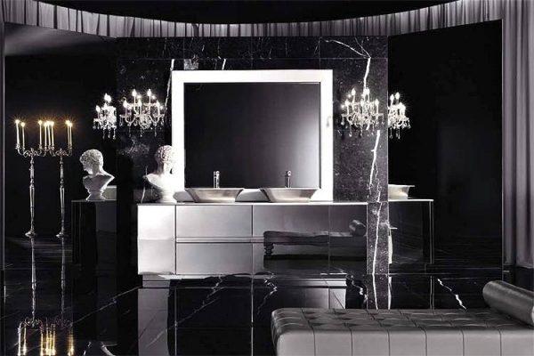 Italian style black bathroom