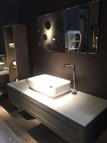 Large countertop bathroom vanity for storage