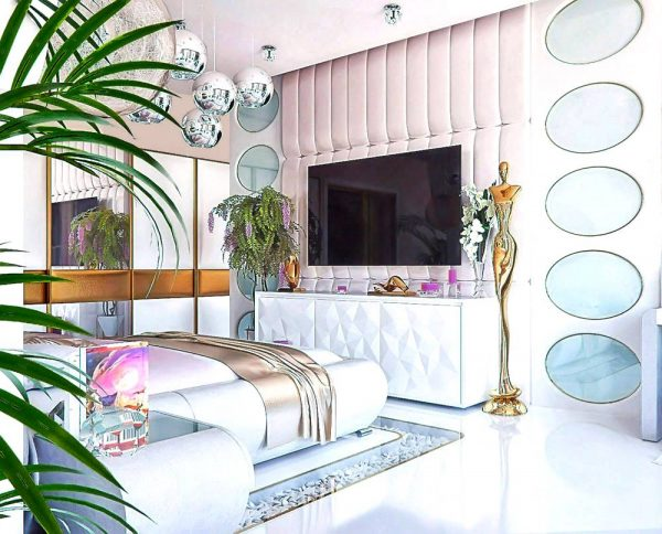 Luxurious pink and gold bedroom theme