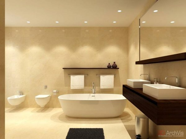 Neutral bathroom twin basins bidet