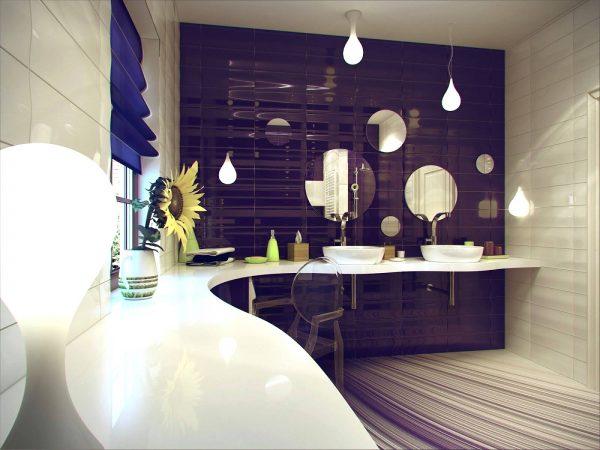 Purple white ceramic bathroom tile