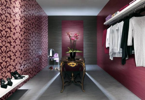 Purple white closet