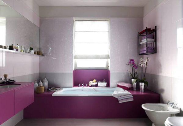 Purple white feminine bathroom design