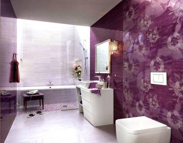 Purple white floral bathroom ceramic tile