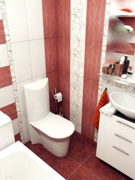 Red white bathroom design
