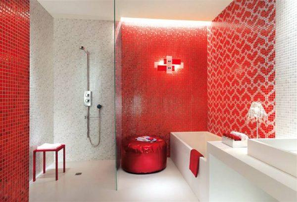 Red white heart mosaic tiles bathroom