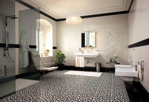 Tiled floor carpet floral mosaic tiles